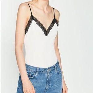 ZARA Ribbed knit Lace front Bodysuit